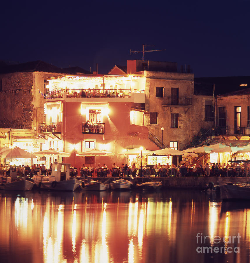 Crete Photograph - Crete. Rethymnon Harbor At Night by Steve Outram