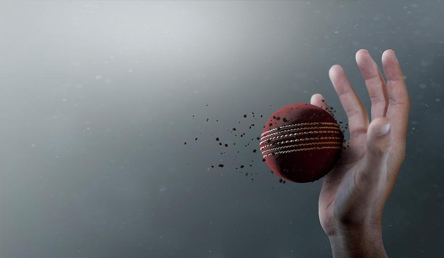 Red Digital Art - Cricket Ball In Flight by Allan Swart