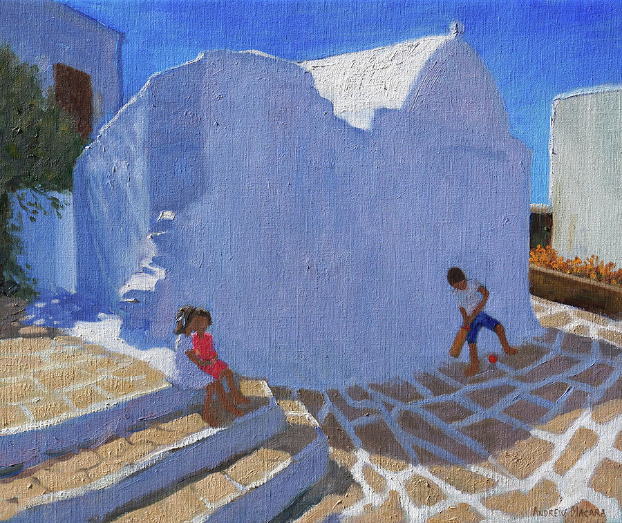 Mykonos Painting - Cricket by the church wall, Mykonos  by Andrew Macara