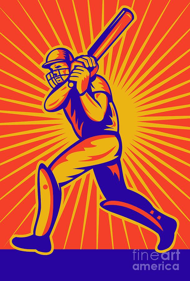 Cricket Digital Art - Cricket Sports Batsman Batting by Aloysius Patrimonio