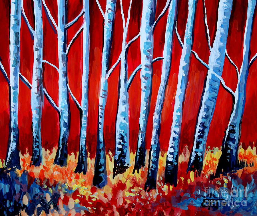 Tree Painting - Crimson Birch Trees by Elizabeth Robinette Tyndall