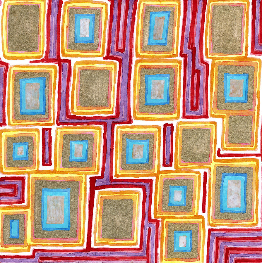 Squares Painting - Crimson Gold And Squares  by Heidi Capitaine