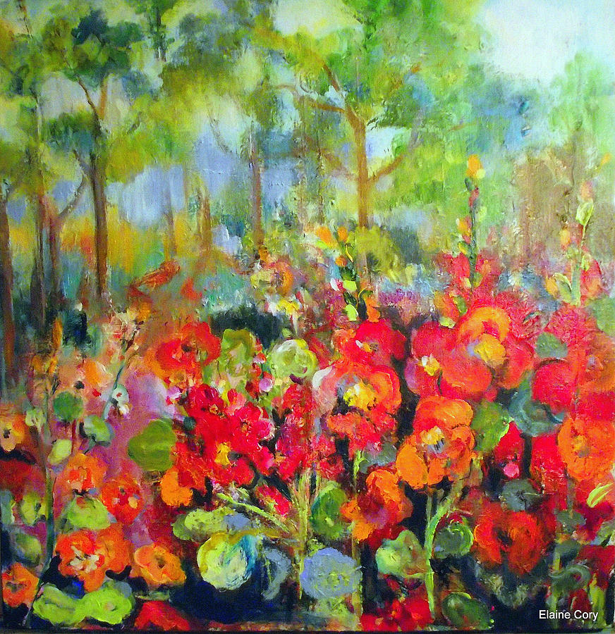 Poppies Painting - Crimson Poppies by Elaine Cory