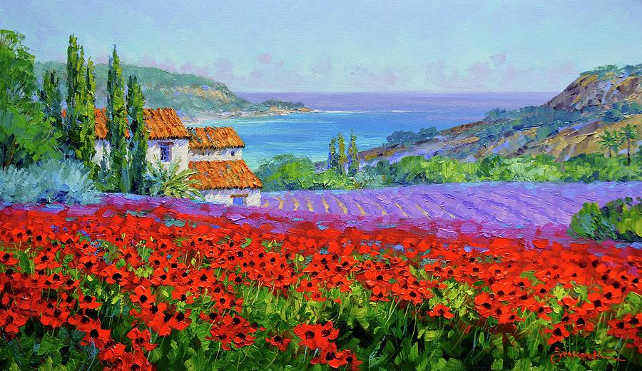 Provence Painting - Crimson Profusion by Mikki Senkarik