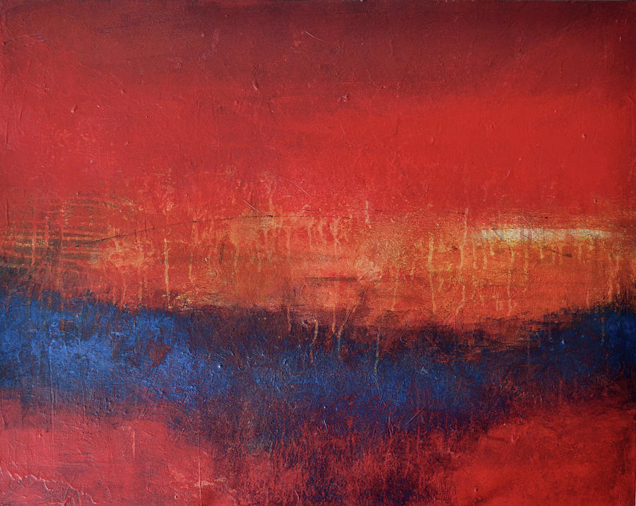 Red Abstract Painting - Crimson Sky by Filomena Booth
