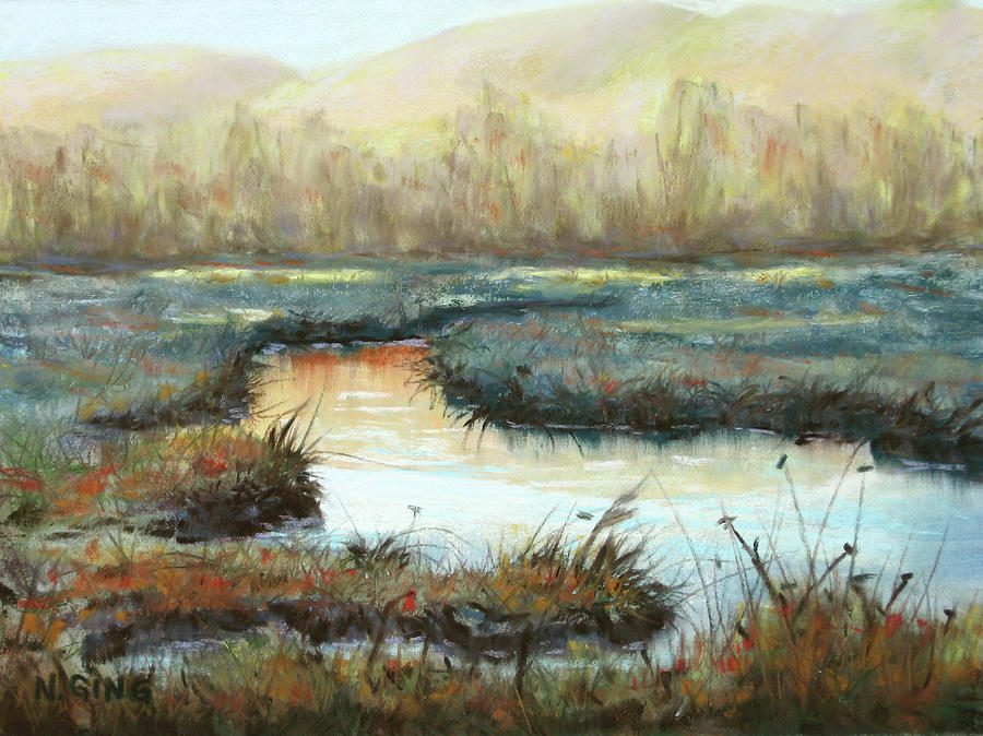 Landscape Painting - Crisp Fall Evening by Nancy Ging