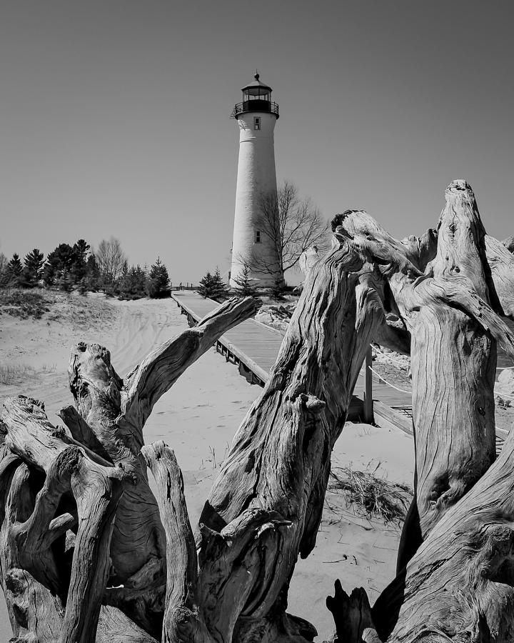 Crisp Photograph - Crisp Point Lighthouse With Driftwood by Kimberly Kotzian