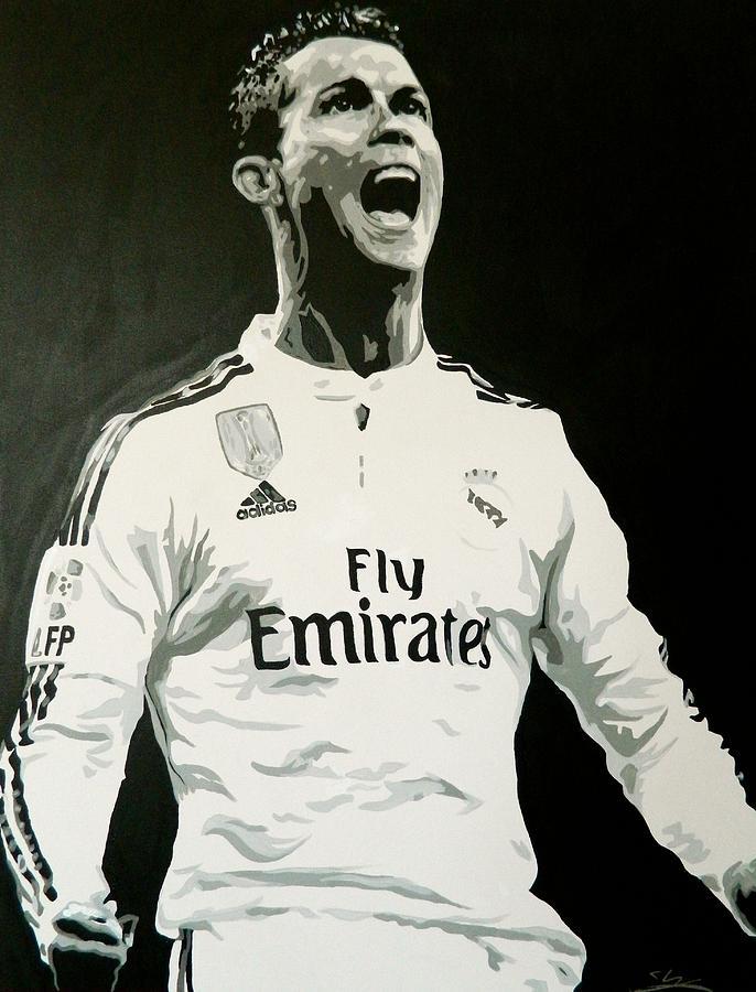 Cristiano Ronaldo Real Madrid Painting By Scott Strachan