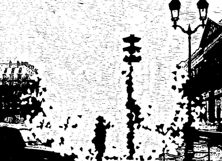Black Painting - Critical Crossing -- Hand-pulled Linoleum Cut  by Lynn Evenson
