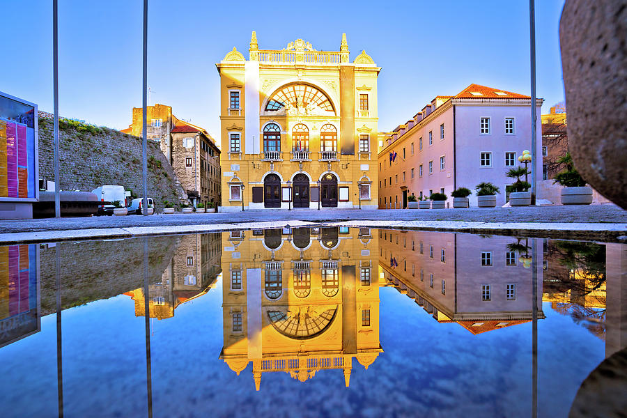 Croatian National Theatre Of Split Water Reflection View Photograph