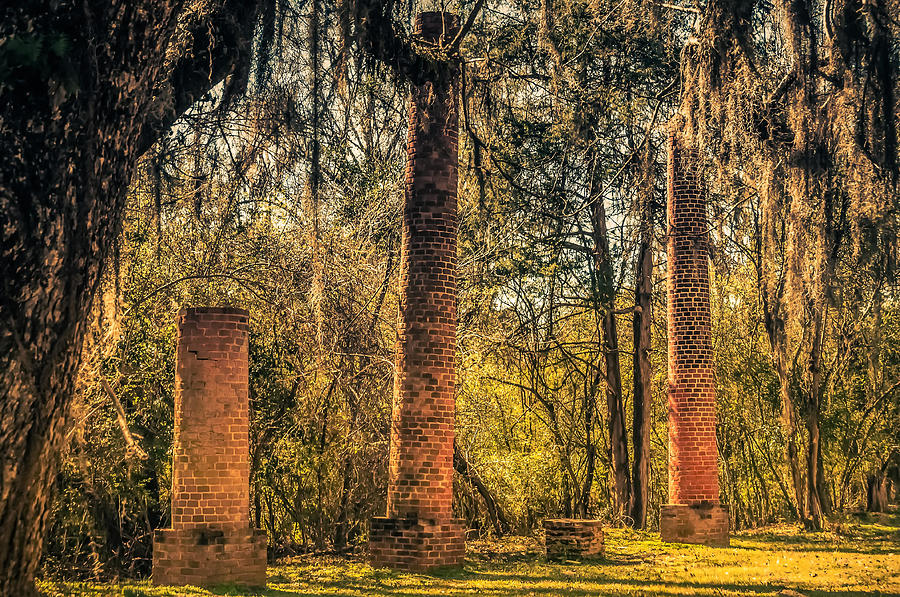 Old Cahawba Photograph - Crocheron Columns Old Cahawba by Phillip Burrow
