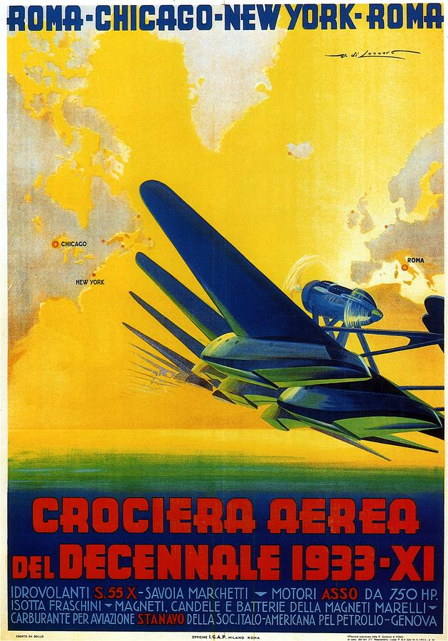 Crociera Aerea Del Decennale 1933 - Airplane - Retro Travel Poster - Vintage Poster Mixed Media