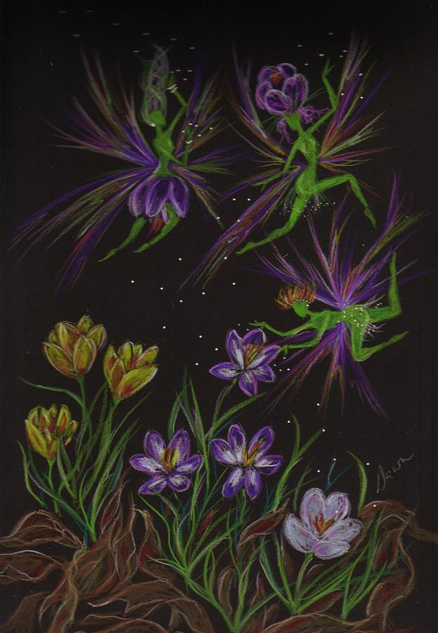 Fairies Drawing - Crocus by Dawn Fairies