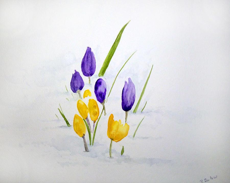 Flowers Painting - Crocuses by Rachel Barlow