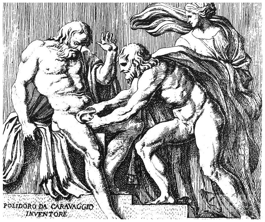 Ancient Drawing - Cronus And Uranus by Granger
