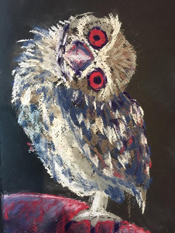 Owl Drawing - Crooked Owl by Cristel Mol-Dellepoort