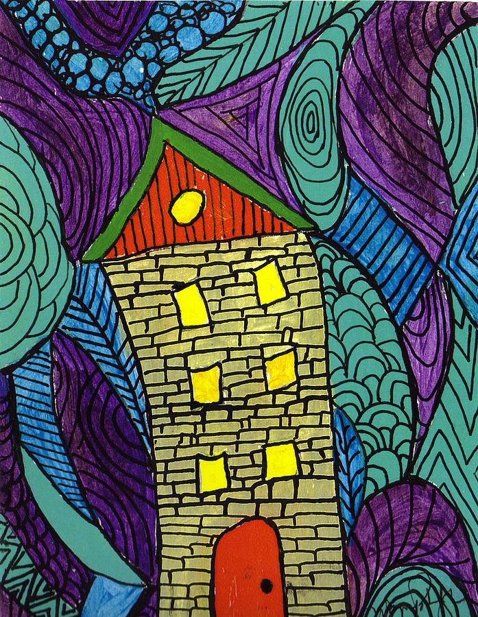 House Painting - Crooked Yellow Brick House by Wayne Potrafka
