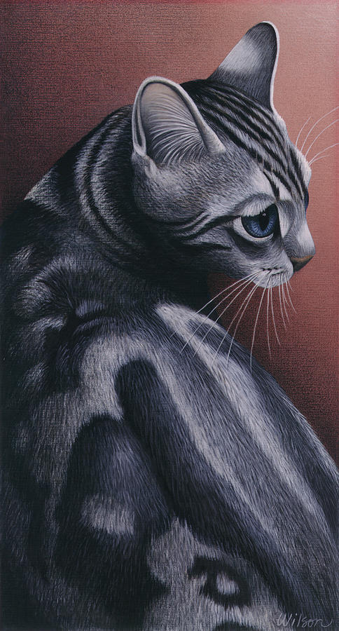 Gray Tabby Cat Painting - Cropped Cat 1 by Carol Wilson