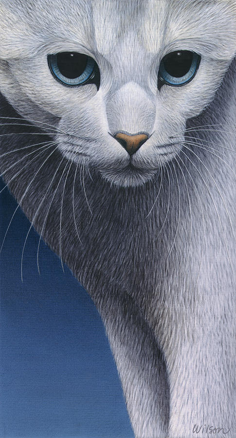 White Cat Painting - Cropped Cat 5 by Carol Wilson