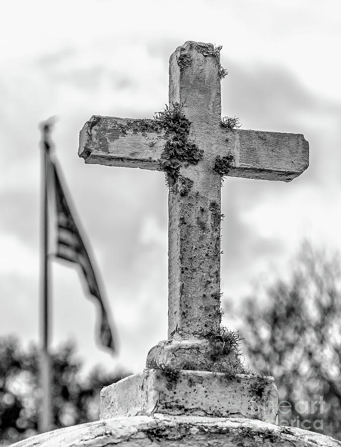Flag Photograph - Cross And American Flag Bw by Kathleen K Parker