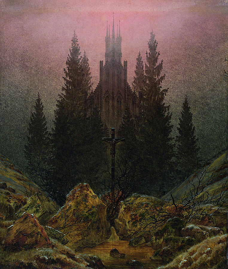Architectural Painting - Cross and cathedral in the mountains by Caspar David Friedrich