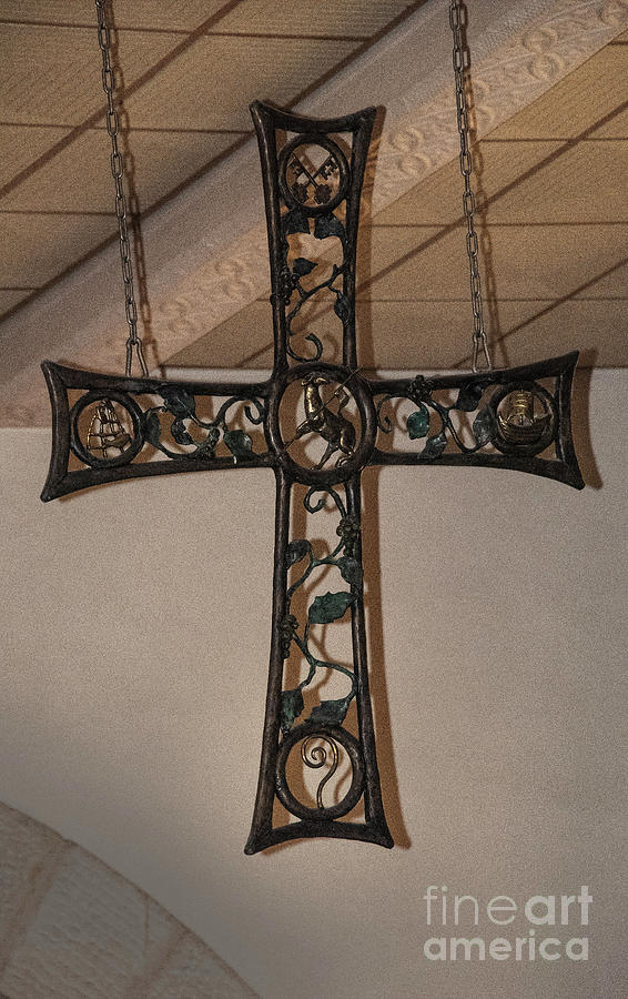 Cross At St. Magdalena Church Photograph by Mae Wertz