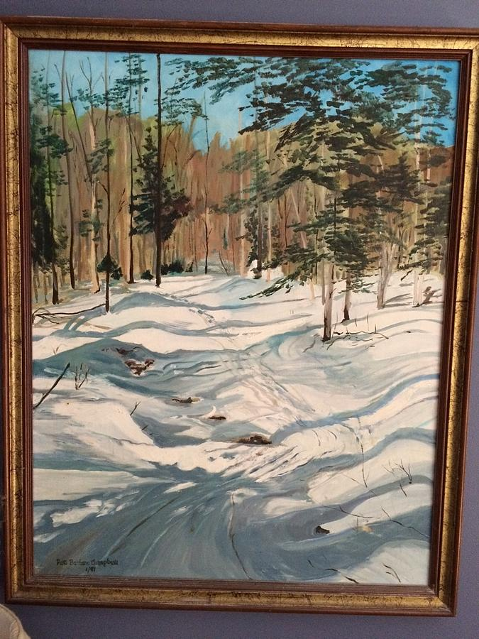Winter Landscape Painting - Cross Country Ski Trail by Patti Campbell