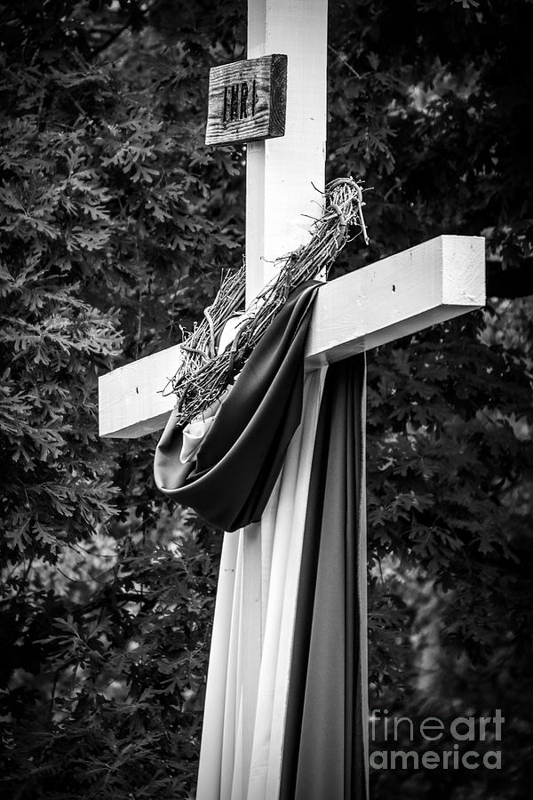 Cross of Jesus - Black and White by Tracy Brock