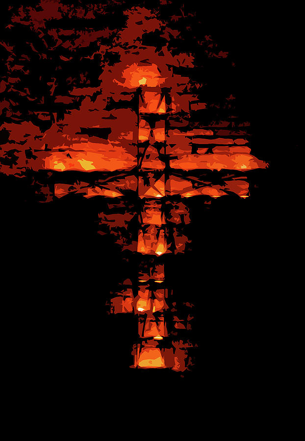 Cross On Fire Painting - Cross On Fire by Andrea Mazzocchetti