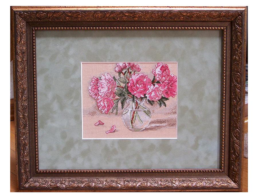 Cross Stitch Tapestry - Textile - Cross Stitch Peonies In Vase by Janet  Hall