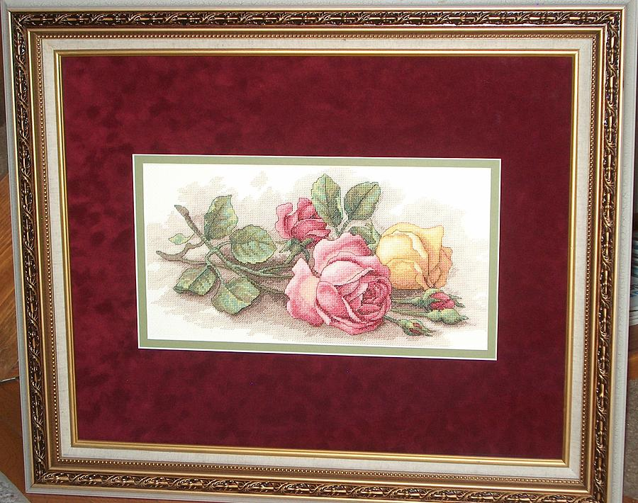 Cross Stitch Tapestry - Textile - Cross Stitch Rose Cuttings by Janet  Hall