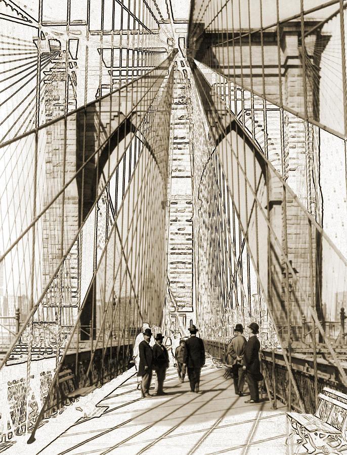 Brooklyn Bridge Photograph - Cross That Bridge Vintage Photo Art by Karla Beatty