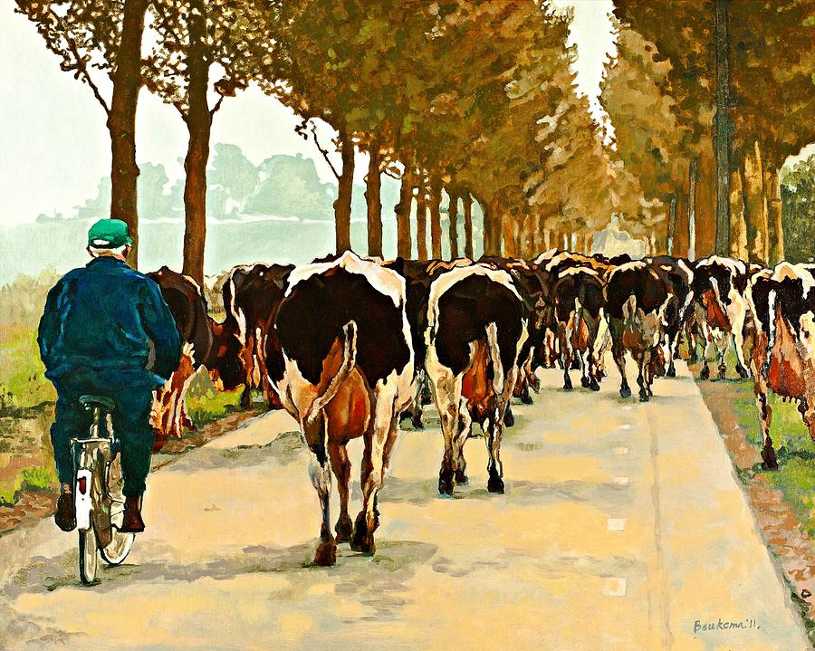 Cows Painting - Cross Town Traffic by Debbie Beukema