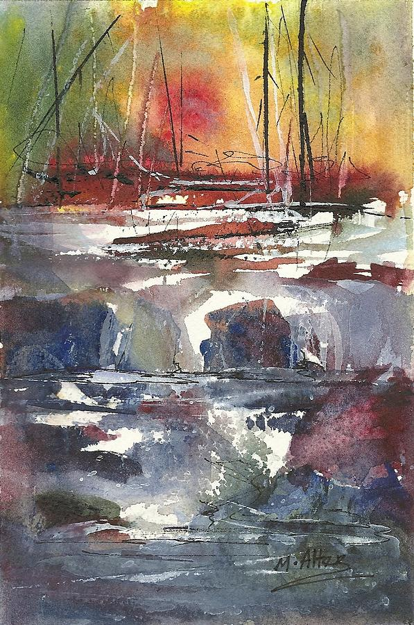 Rapids Painting - Crosscurrents by Madelaine Alter