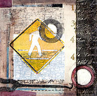 Traffic Sign Mixed Media - Crossing Against The Light by Amy E Bartell