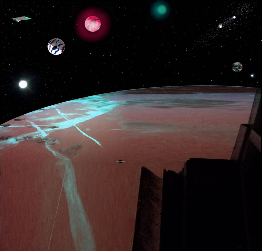 Planets Drawing - Crossing Over Planet Sky by Larry Black