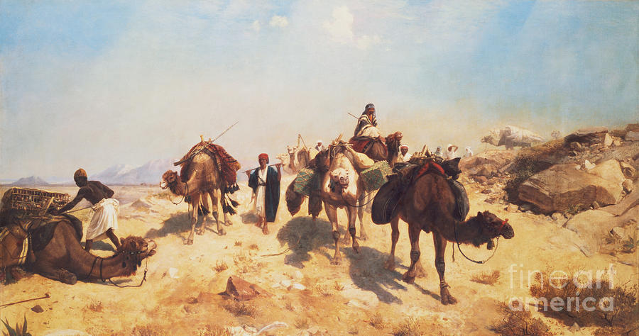 Crossing Painting - Crossing The Desert by Jean Leon Gerome