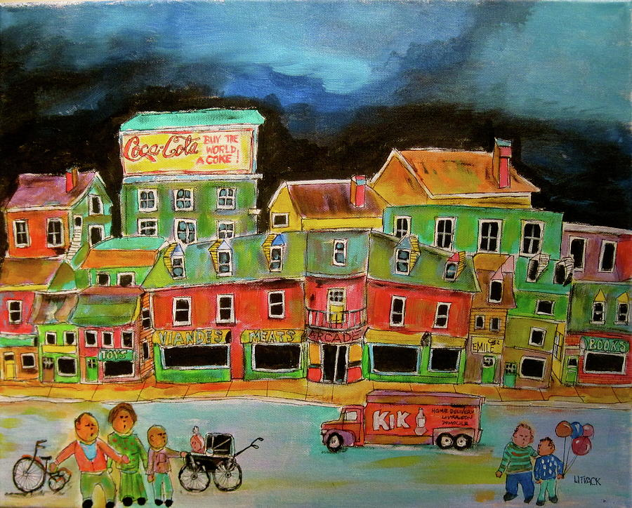Family Painting - Crossing The Street by Michael Litvack