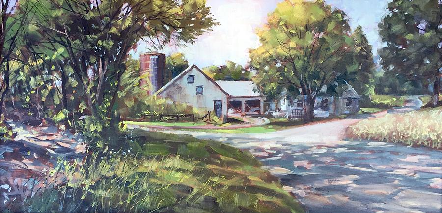 Landscape Painting - Crossroads Farmhouse by Marty Coulter