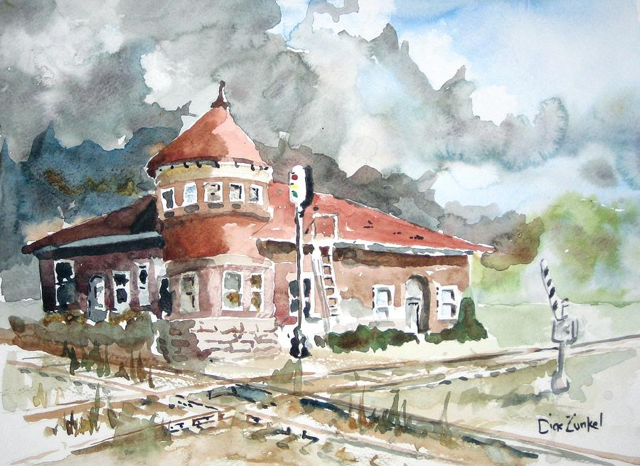 Abandoned Train Station Painting - Crossroads by Richard Zunkel