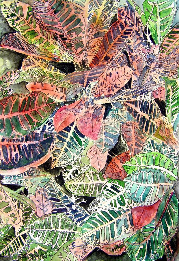 Croton Painting - Croton Tropical Art Print by Derek Mccrea