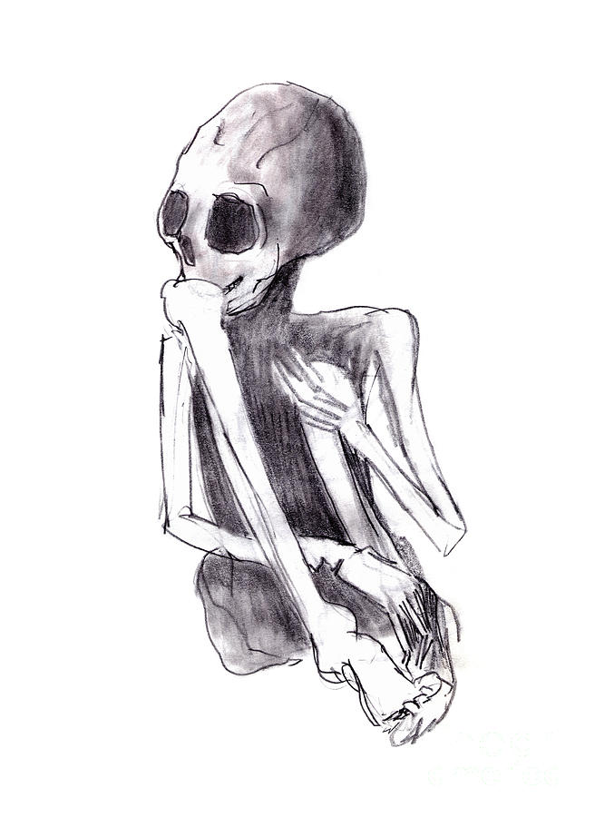 Crouched Skeleton Drawing - Crouched Skeleton by Michal Boubin