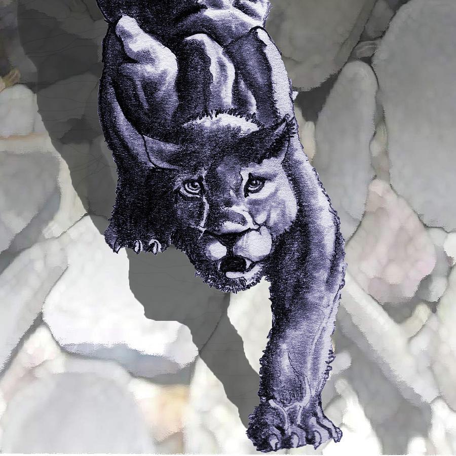 Crouching Jaguar: Crouching Panther Logo Drawing By James Robinson