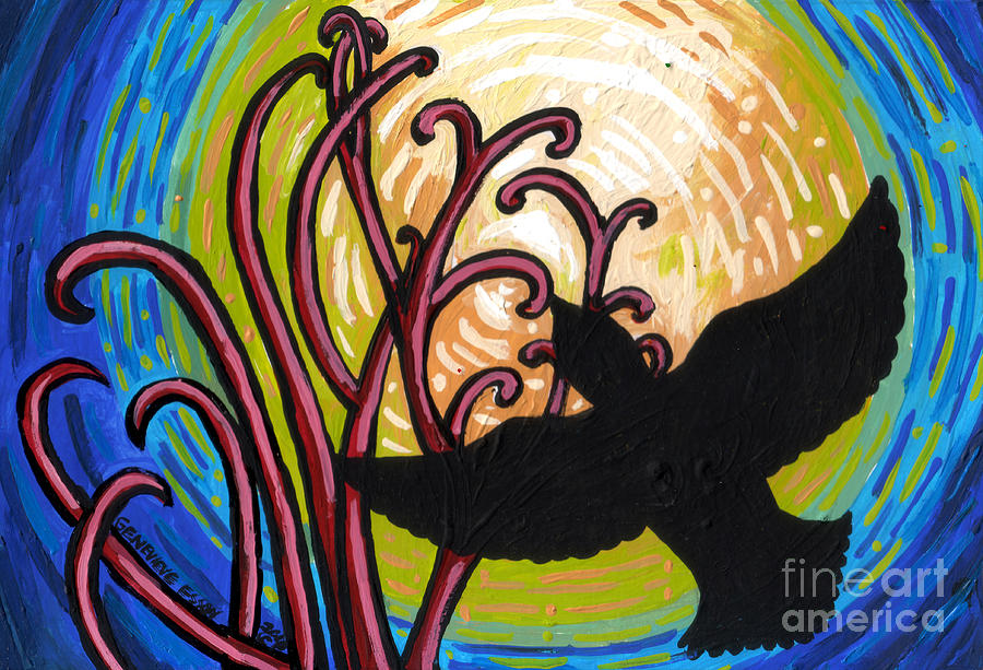 Crow Painting - Crow And Full Moon In Winter by Genevieve Esson