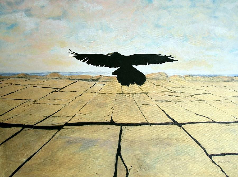 Crow In Flight Painting