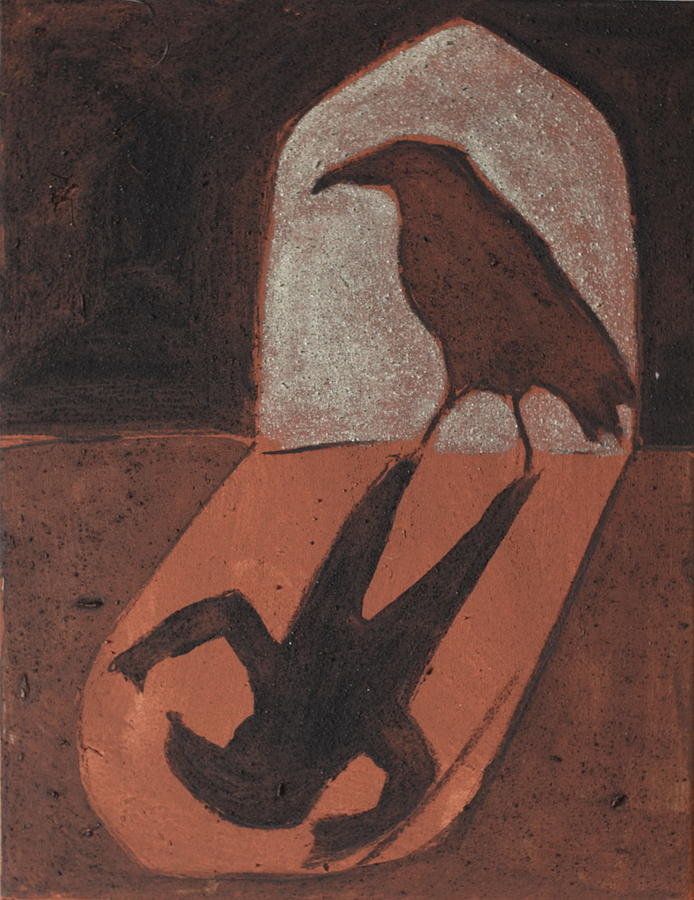 Crow In The Doorway Of Life With Woad Painting by Sophy White