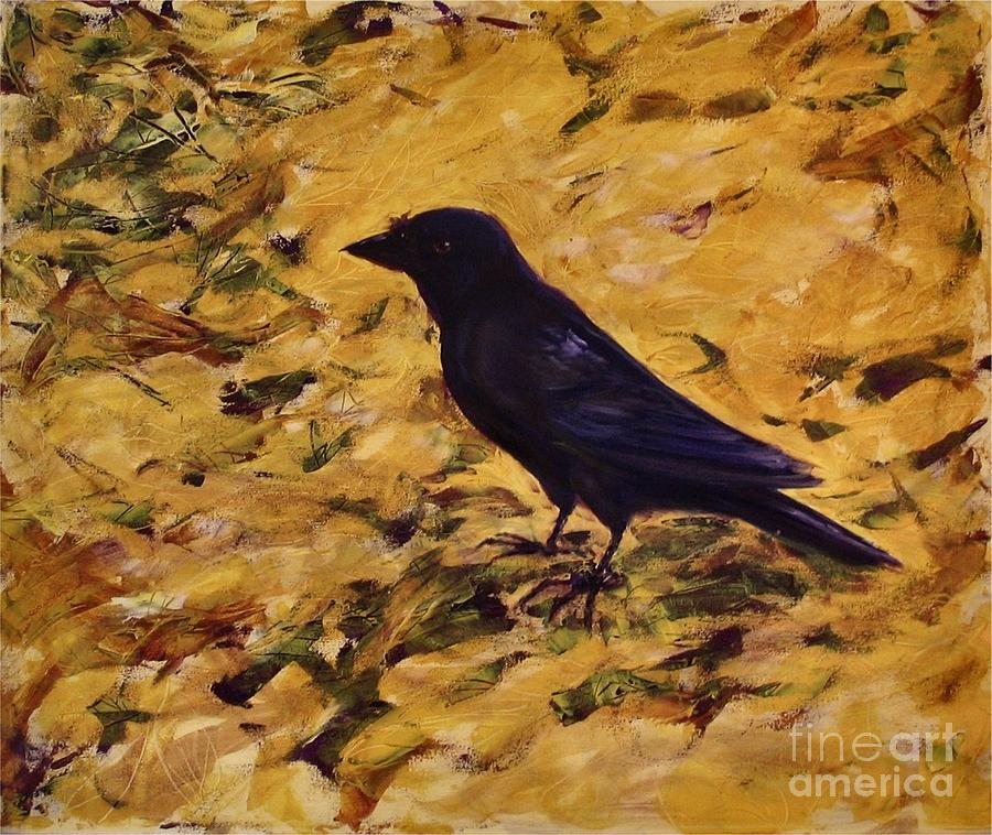 Crow In Walnut Leaves Painting