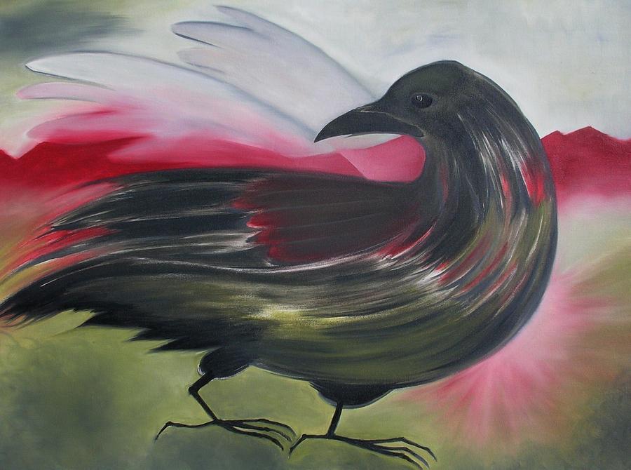 Crow Painting - Crow by Karen MacKenzie