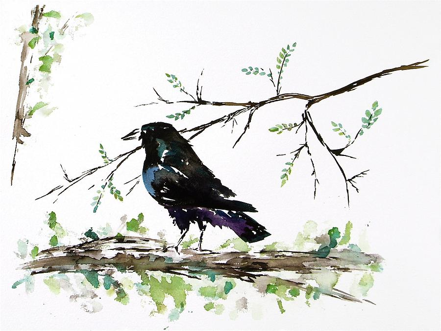 Crows Painting - Crow On Branch by Carolyn Doe