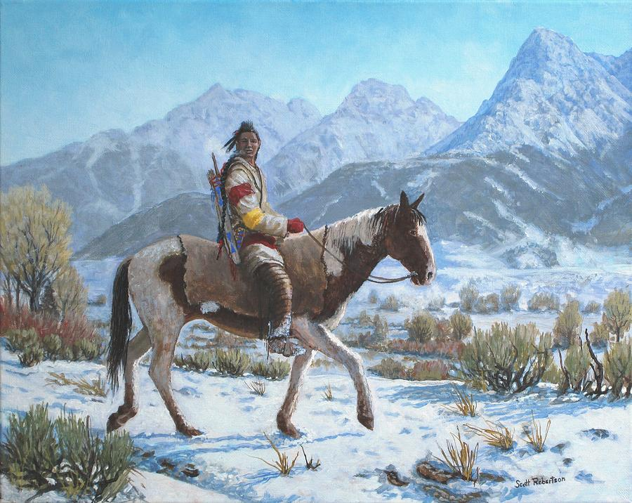 Native American Painting - Crow on the Yellowstone river by Scott Robertson